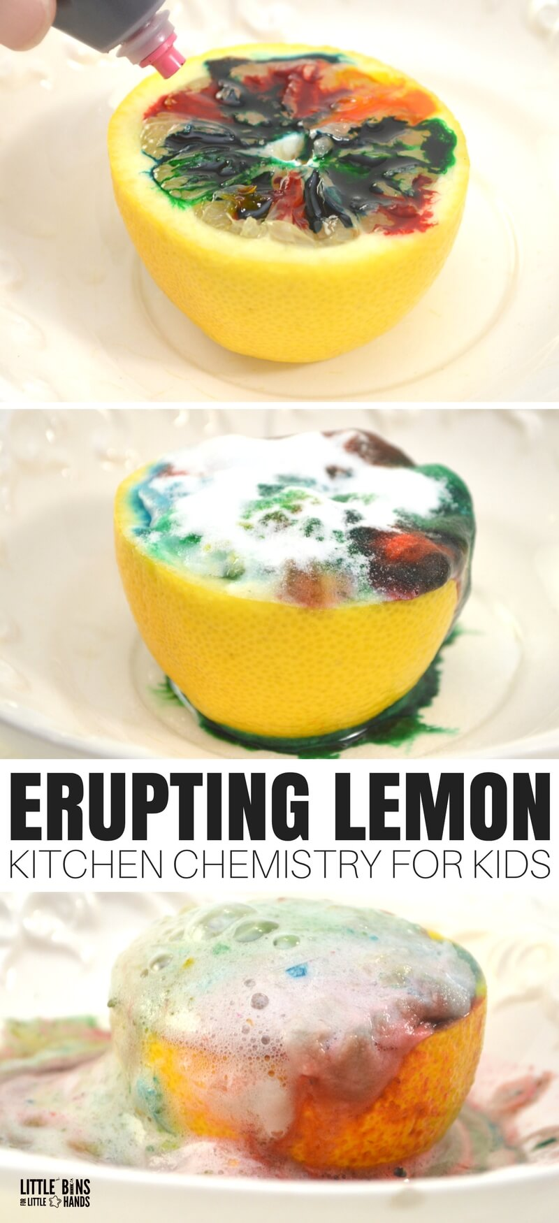 Great science is as simple as walking into the kitchen with this erupting lemon chemistry experiment! We enjoy all kinds of simple science and STEM using common household ingredients. This fun science activity can even be taken outside for easy clean up. Perfect for summertime science any day of the year