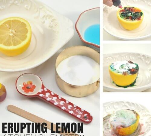 Erupting Lemon Volcano Chemistry Experiment for Kids Science