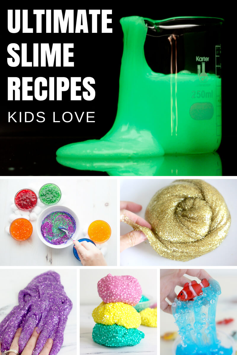 75+ Ultimate slime recipes guide is your go to slime making resource. I can show you how to turn a slime fail into a slime win with our AMAZING basic slime recipes and 100's of variations. I have all the slimes your kids want to make, and we show you how to do it from start to finish with troubleshooting along the way. Make slime, connect with your kids, learn science, and explore cool textures with our ultimate slime recipes.