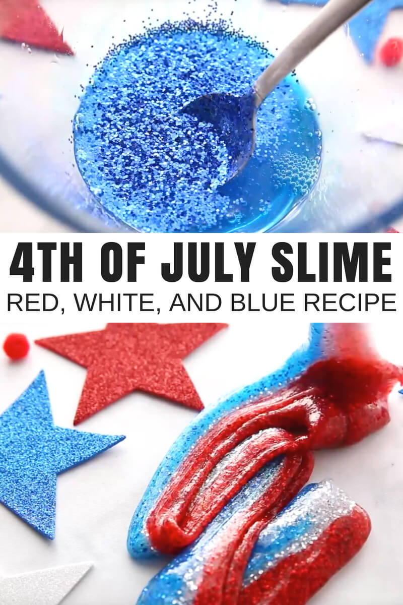 4th of July Slime Recipe for Homemade Summer Slime with Kids. 4th of July science, 4th of July sensory play, and summer activity all in one for kids who love to make homemade slime recipes. learn how to make slime this summer with our saline solution slime recipe. Easy slime every time. Best slime ingredients too!