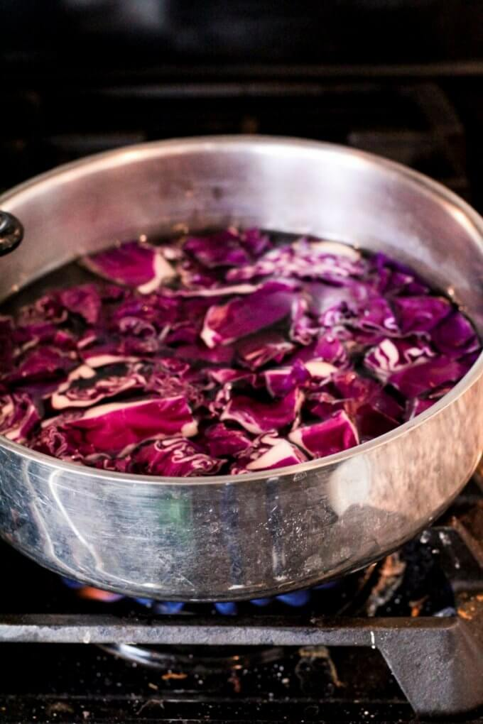 Boiling red cabbage to make cabbage juice for cabbage chemistry project