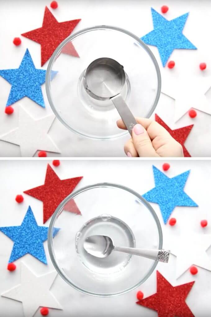 Clear glue 4th of July Slime Recipe Stirring