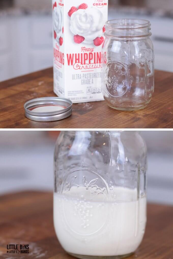 butter supplies include heavy cream and a glass jar