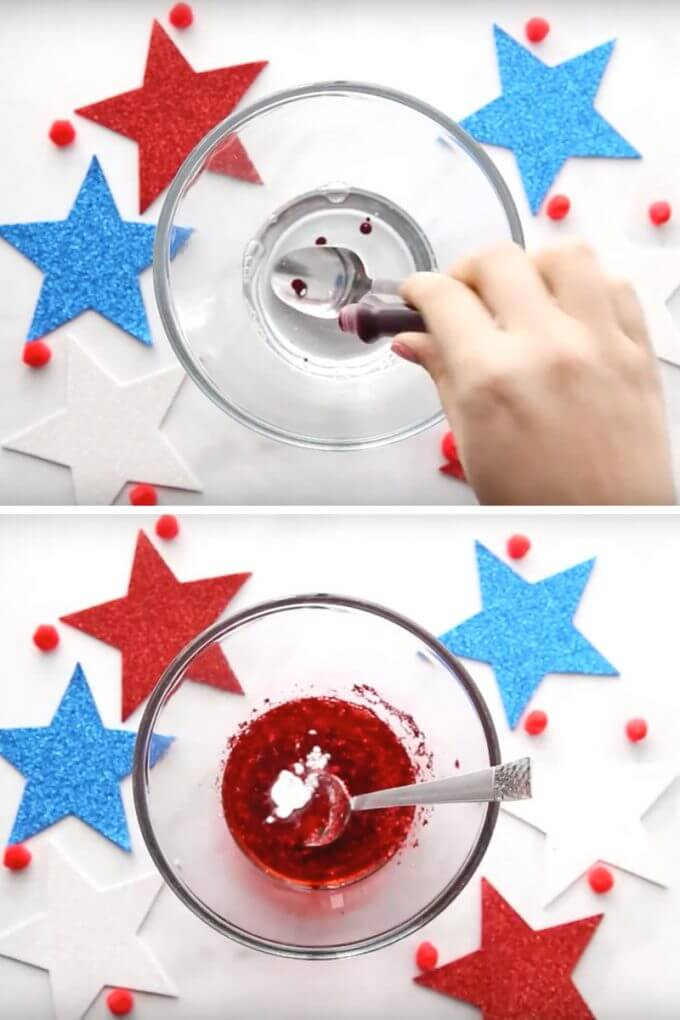 Adding food coloring, glitter and baking soda to 4th of July slime recipe with saline slime recipe