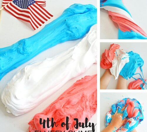 4th of July Fluffy Slime Recipe with Shaving Cream