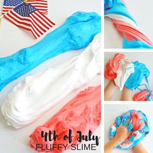 4th of July Fluffy Slime Recipe fro Kids
