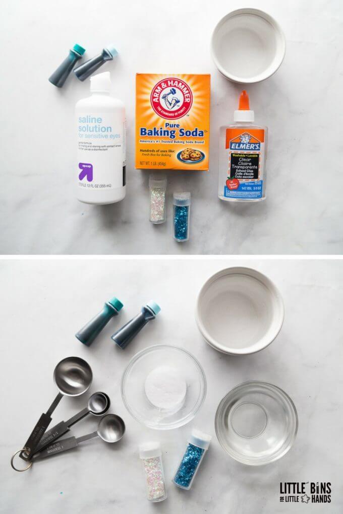 saline solution ocean slime recipe supplies