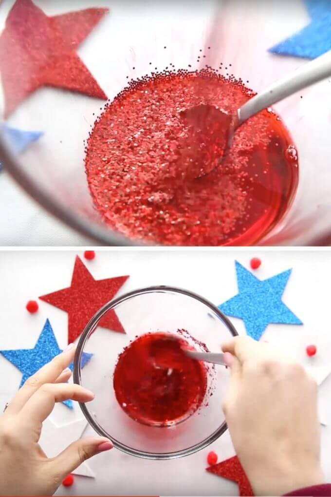glitter slime for 4th of july slime recipe