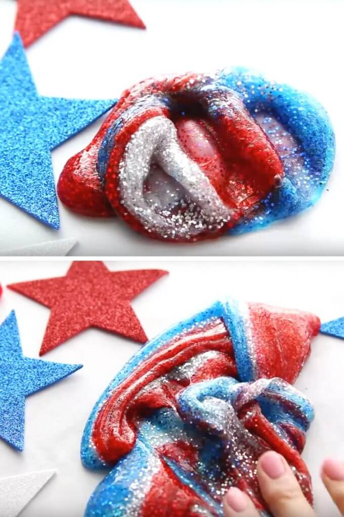Easy 4th of JUly slime recipe with saline solution slime recipe