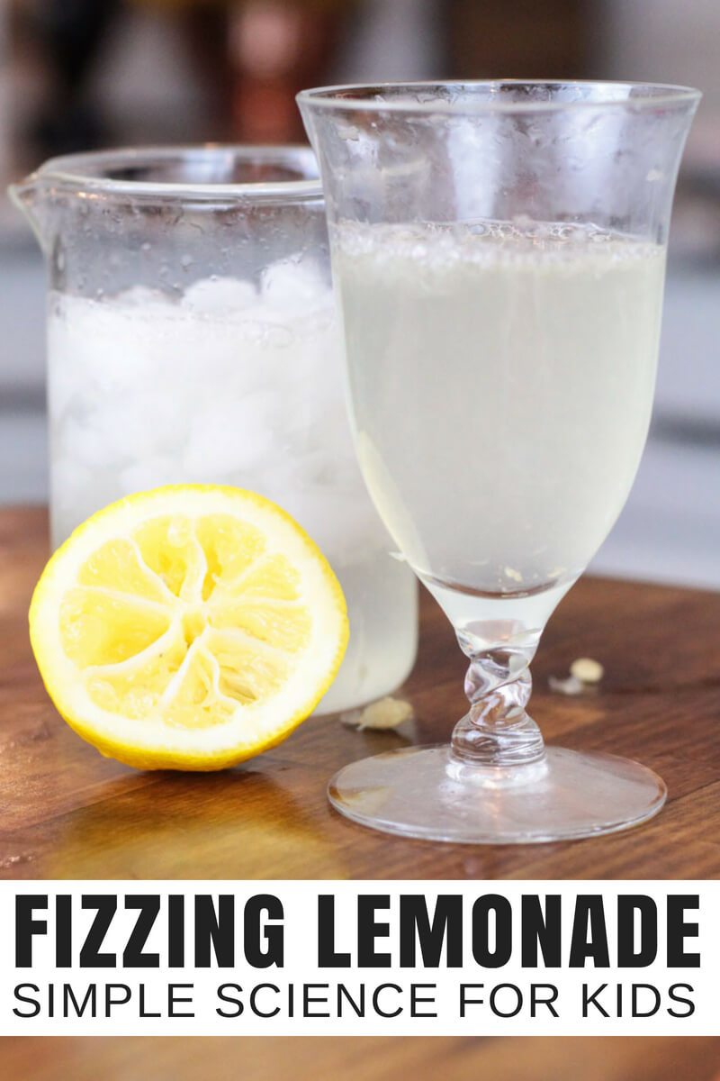 Fizzy lemonade science project for awesome edible science activities this summer. Simple summer science that explores chemistry for kids as well as the five senses!