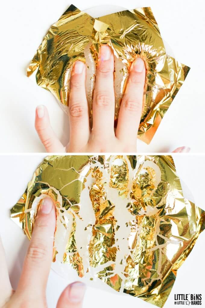 adding gold leaf foil sheets to clear glue slime