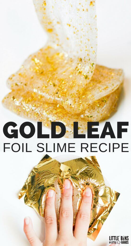 There is a never ending supply of super cool items that you can mix into homemade slime recipes. Our latest slime obsession is with these gold foil sheets to create a gold leaf slime. We have the best homemade clear glue slime out there and now we have added gorgeous gold to it!