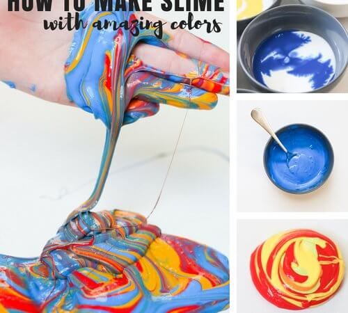 How To make Slime With Glue and Paint for Kids Activities