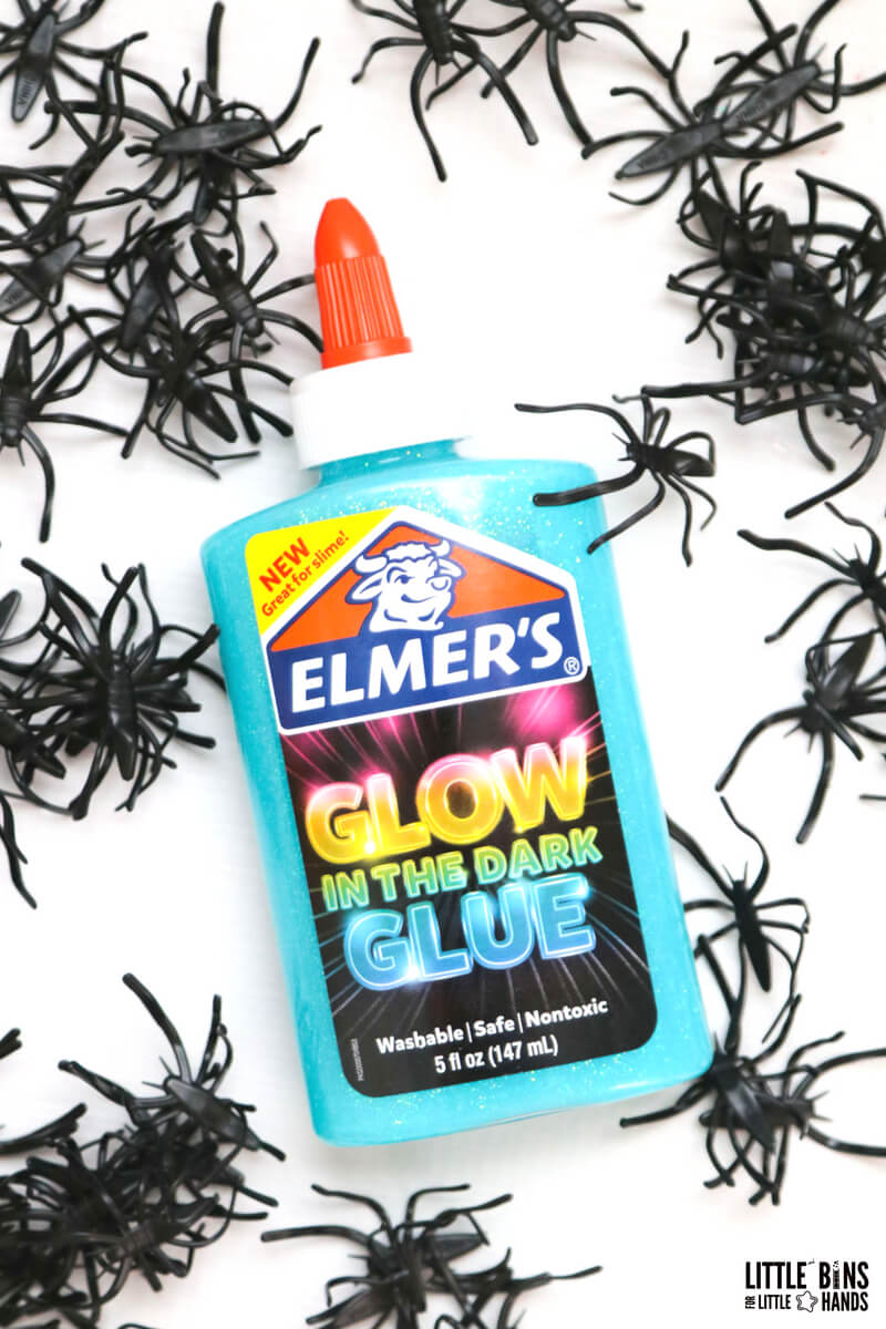 Elmers glow in the dark glue and plastic spiders