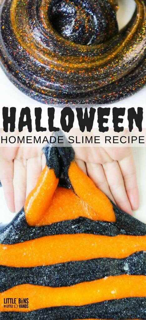 Hold on to your broomsticks for this one! Our Elmers Glue Halloween Slime Recipe is fast, easy, and perfectly stretchy with just two ingredients. When it comes to making homemade slime, there's no better holiday then Halloween. Swirling orange and black glitter glue slime mix perfectly with our easy to make slime recipe using Elmer's glitter glue and liquid starch. Let us show you how to get started.