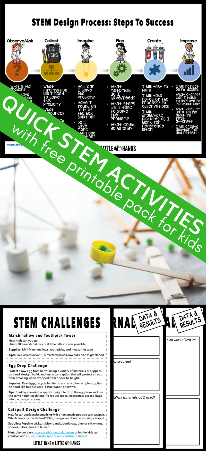 Cheap and quick STEM activities when your time and budget is limited! Kids will love these STEM challenges for use in the home, classroom, or other group setting. Use our free 5 Day STEM Activities pack challenge and get started with cool STEM anytime.