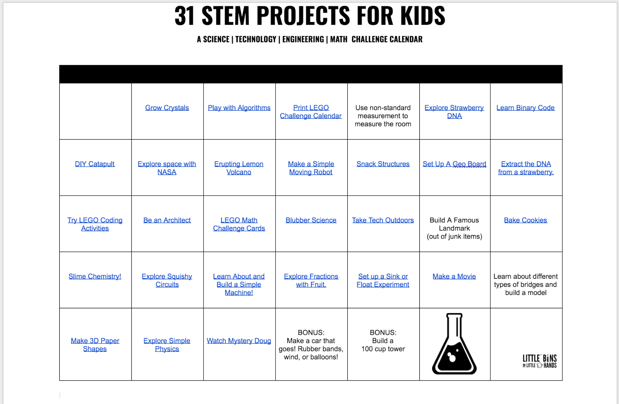 STEM projects calendar of STEM ideas
