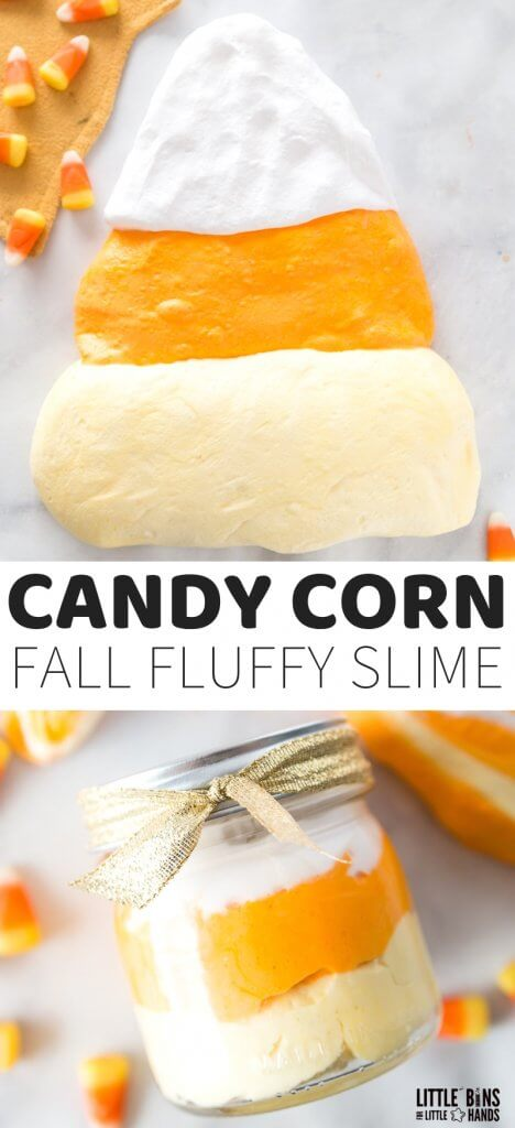 Squishy Candy Corn Fluffy Slime Recipe for Fall Slime Making