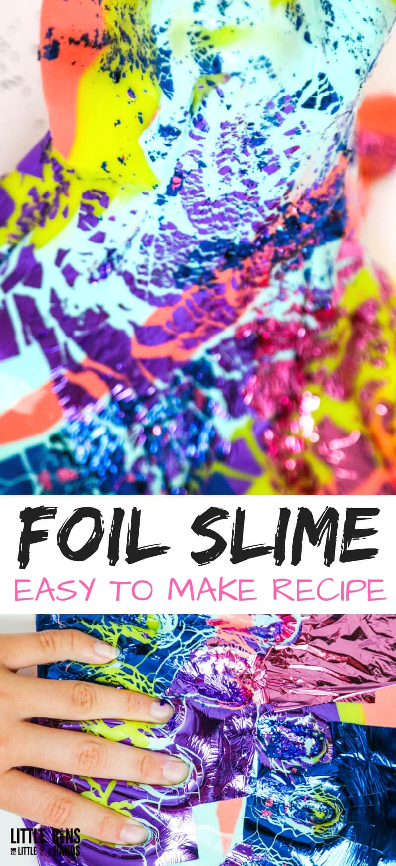 Foil Slime with Color Gold Leaf Sheets and White Elmers Glue Slime Recipe