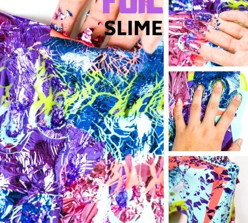 Foil Slime Recipe with Color Foil Sheets and White Glue