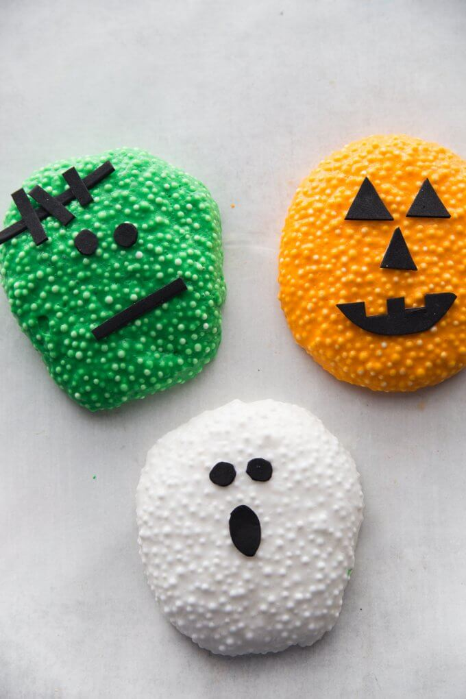 halloween floam in the shape of pumpkin, ghost, and monster