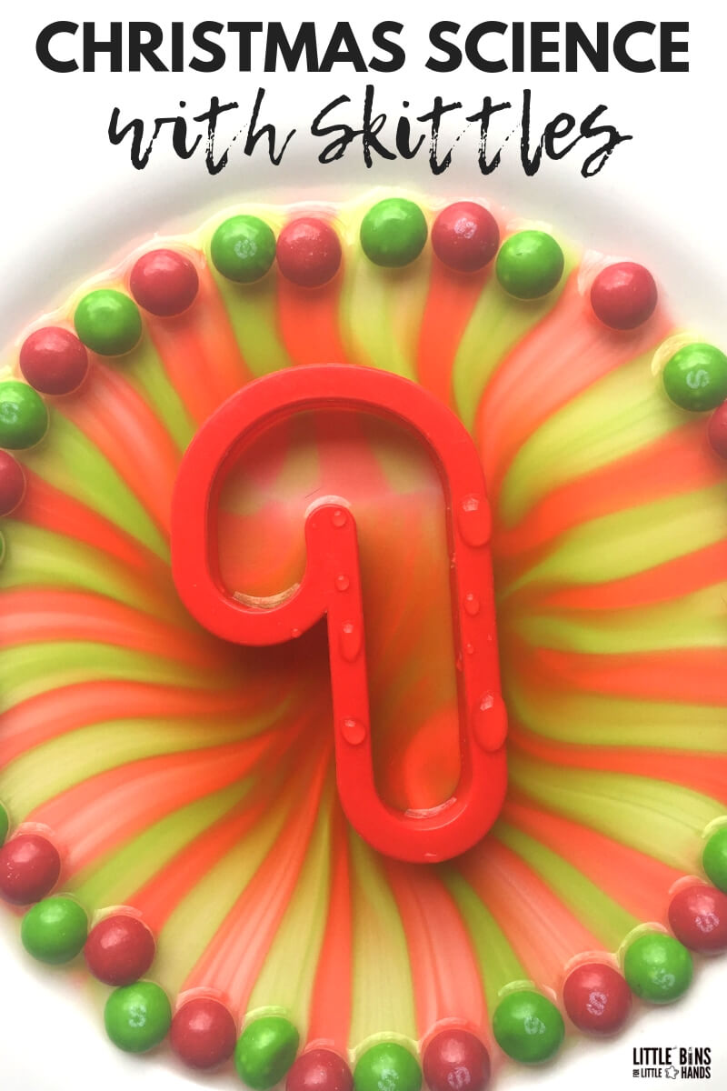 Christmas skittles science activity is the perfect way to use candy for science and explore a classic science experiment with water stratification. Water density and physics made easy!