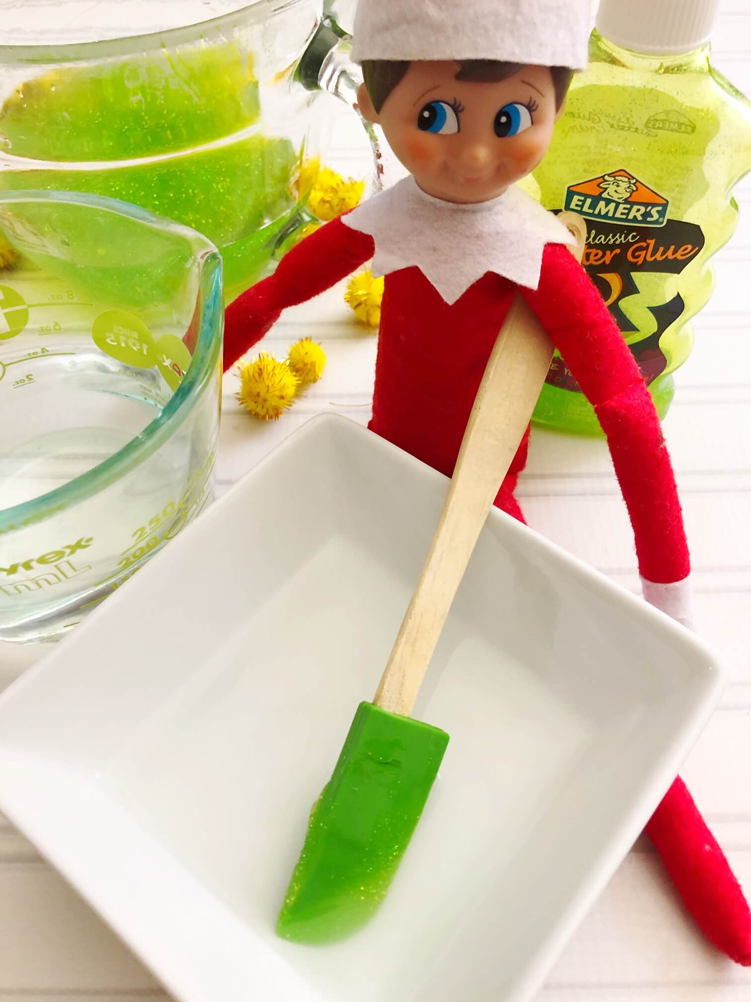 Elf on the Shelf getting ready to make slime