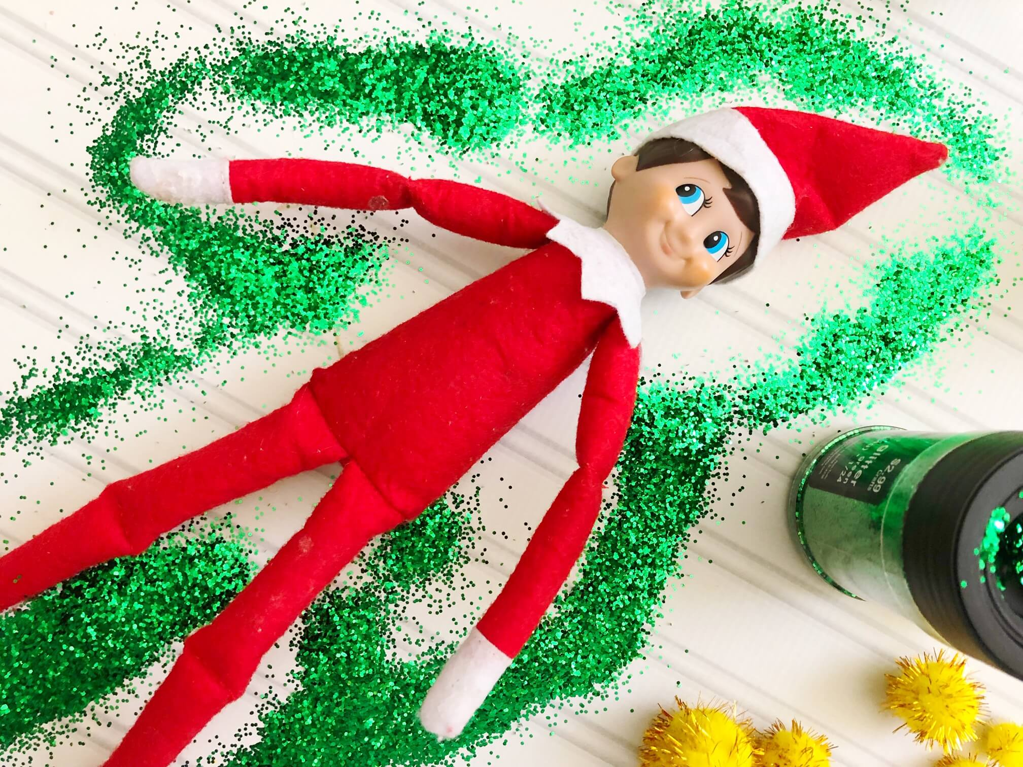 elf on the shelf glitter snow angel