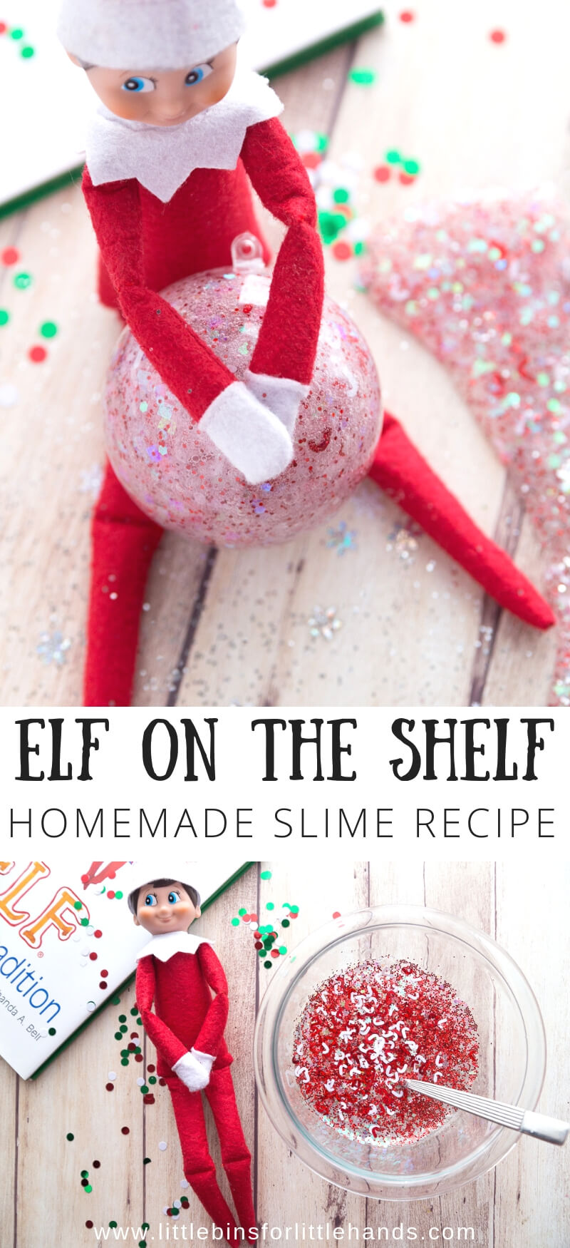 Learn how to make Elf on the Shelf slime with Christmas confetti for a festive holiday slime activity and new favorite Elf on the shelf activity.