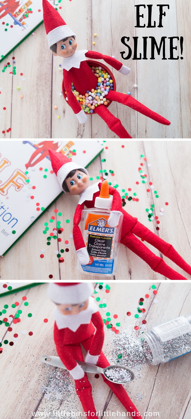 Elf on the Shelf Slime Poses with Slime Supplies