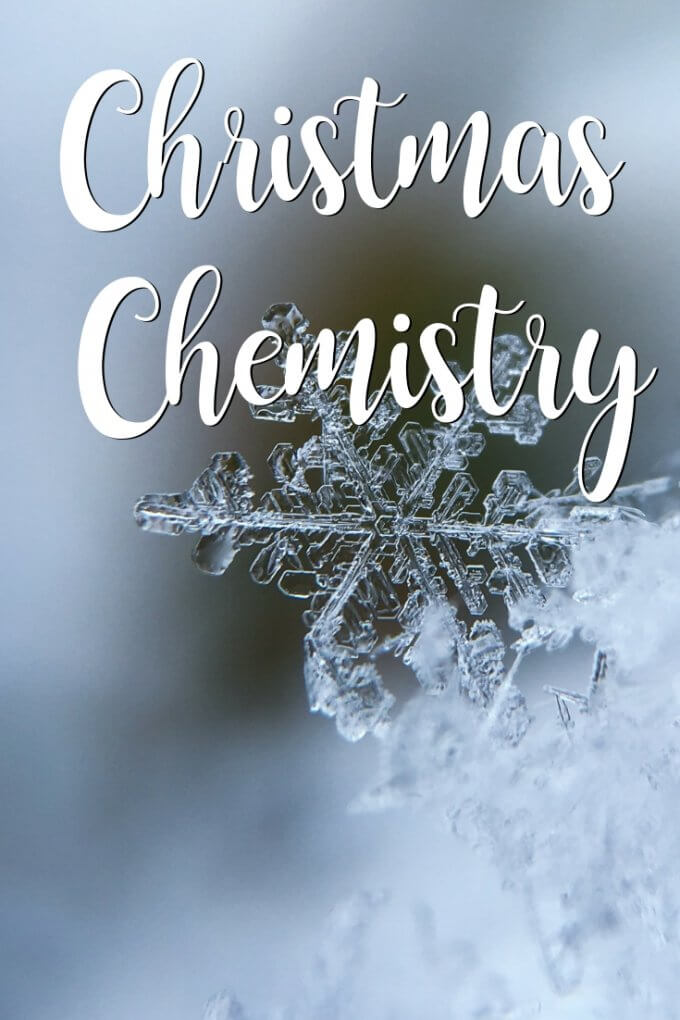 Christmas chemistry project for kids with crystal ornaments in science shapes