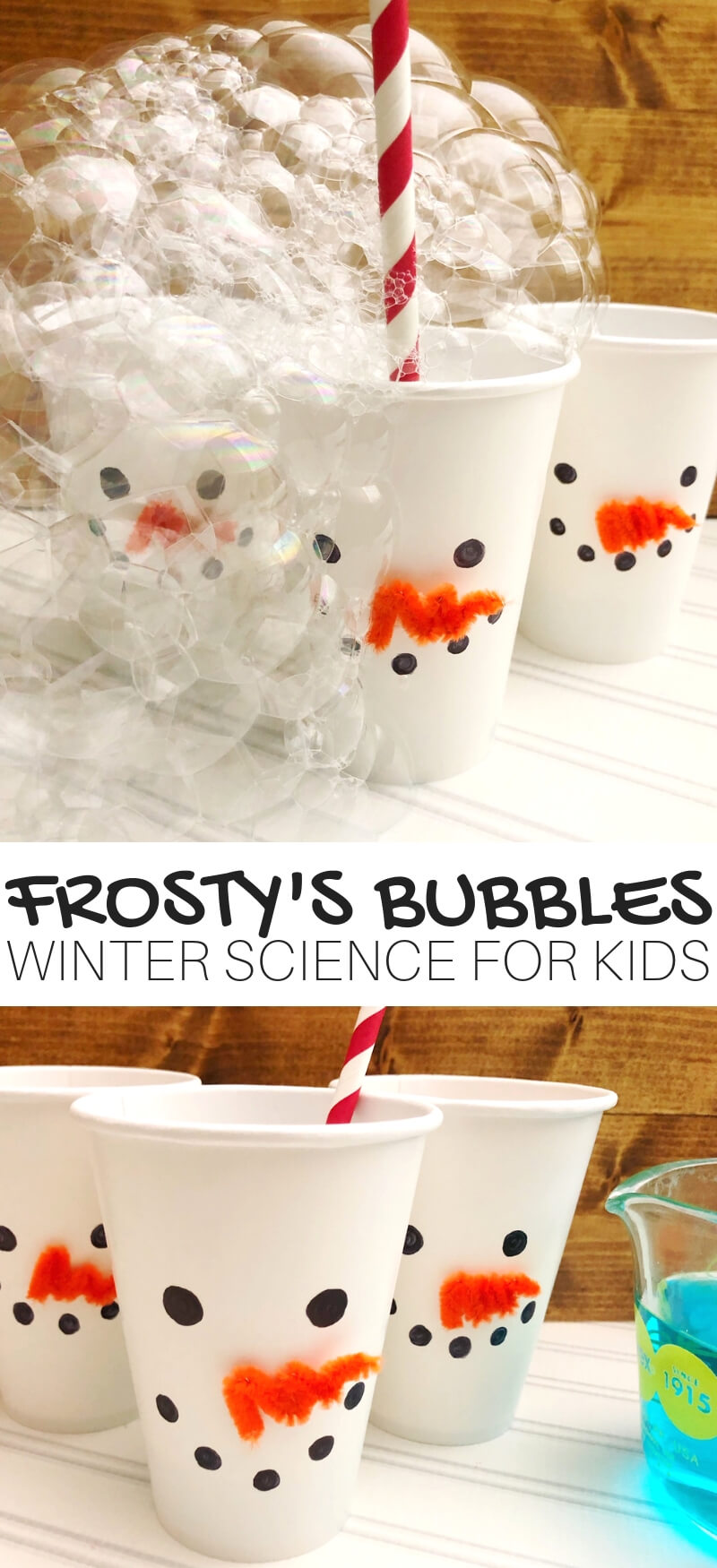 Winter Bubble Science and Winter STEM with bubbles. Easy snowman theme science and STEM activity for winter.