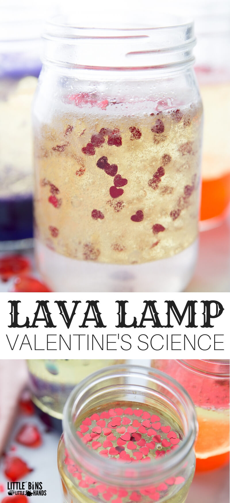 Homemade Valentines lava lamp experiment for Valentines Day science activities