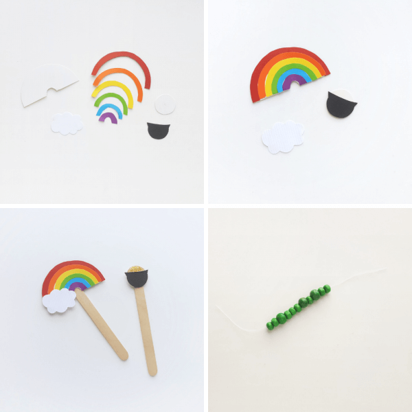 building a rainbow and pot of gold for leprechaun trap STEM project