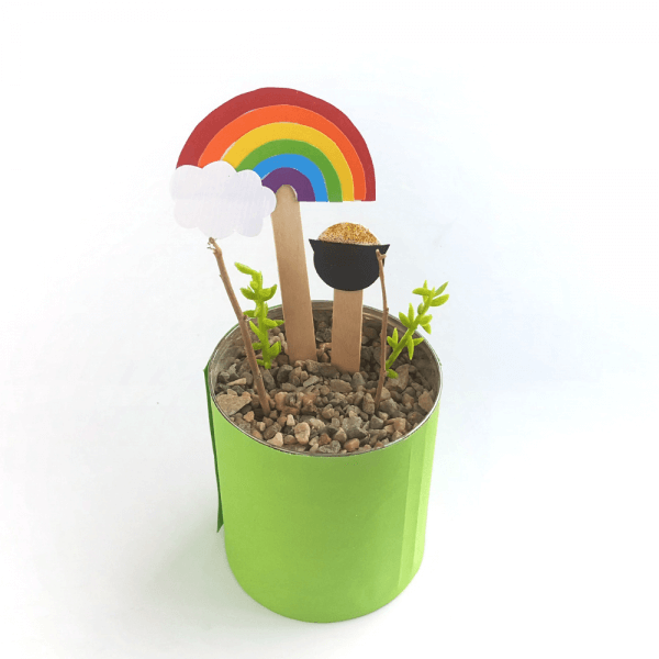 assemble a mini leprechaun trap garden in a tin can or small pot