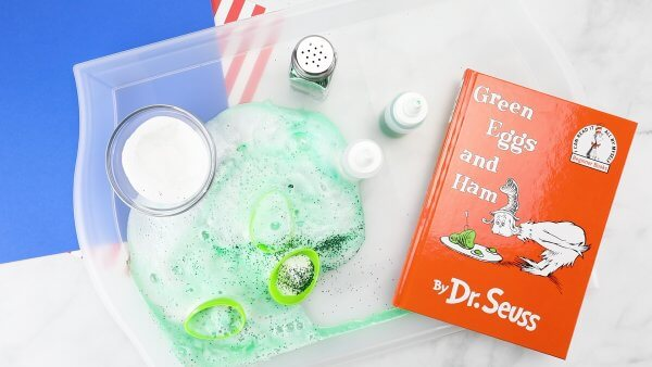 Green Eggs and Ham activity with fizzy green baking soda science experiments