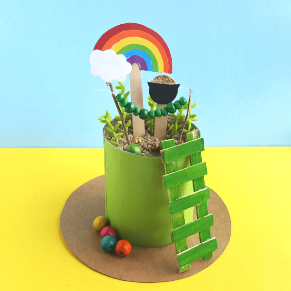 Mini leprechaun trap garden STEM project with ladder, rainbow, and other accessories