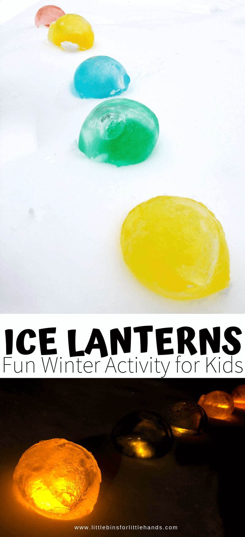 Easy to make ice lanterns for a cool winter science activity with kids