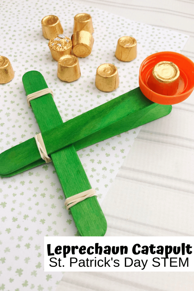 Learn how to make a catapult with popsicle sticks for the best St. Patricks Day activities with kids. Explore simple physics with an easy to make lucky charms popsicle stick catapult perfect for St. Patricks Day STEM!