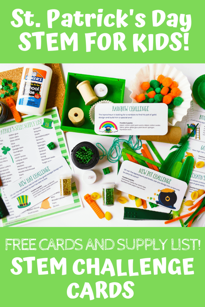 St Patricks Day Challenge Cards for St Patricks Day Science and STEM activities kids will love. Build leprechaun traps or make a rainbow with this printable St Patricks Day activities pack.
