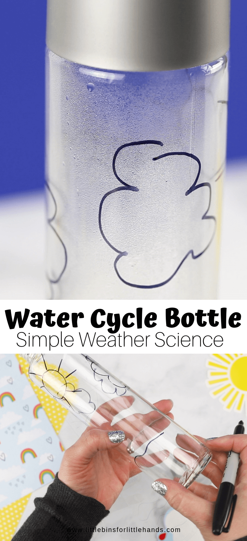 water cycle in a bottle for weather theme for kids