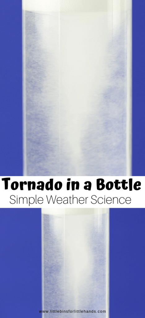 Tornado bottle weather science and preschool activity for spring STEM
