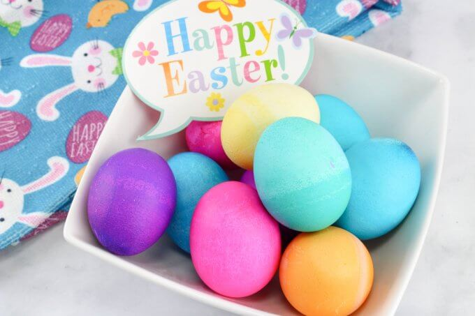 Bowl of baking soda dyed easter eggs