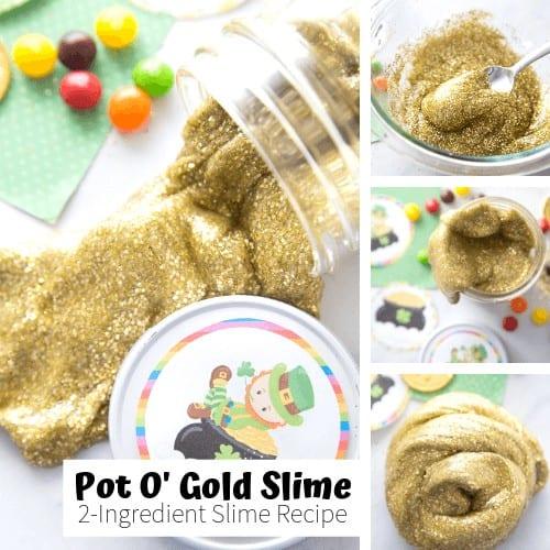 Pot o gold gold glitter glue slime recipe