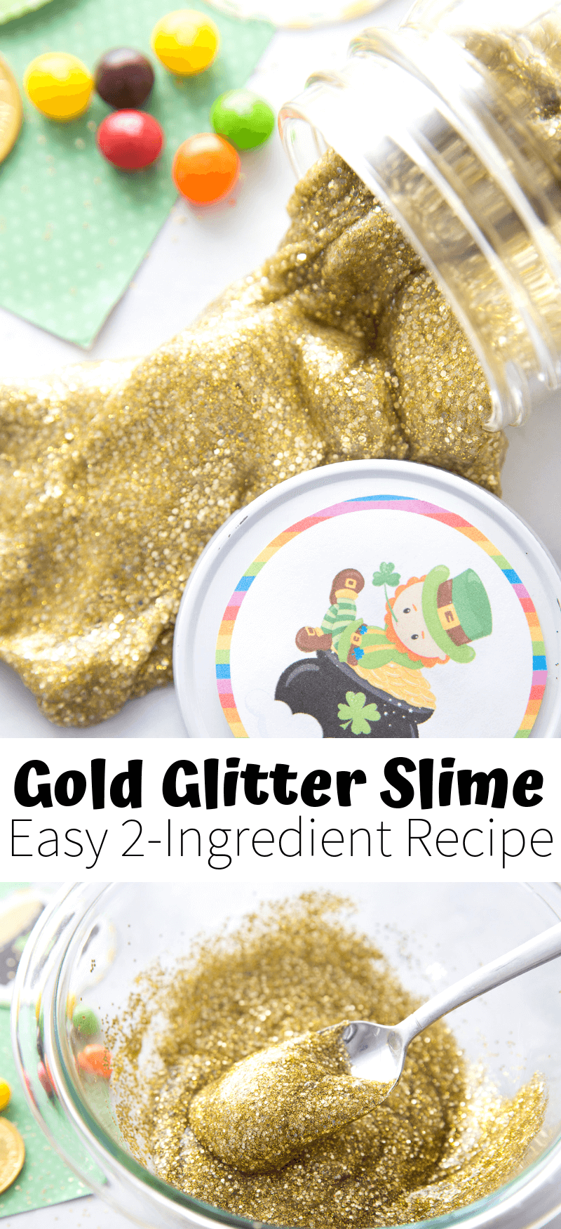 2 ingredient gold glitter glue slime recipe with liquid starch