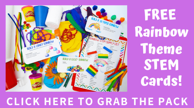 Free Rainbow STEM Challenge Cards