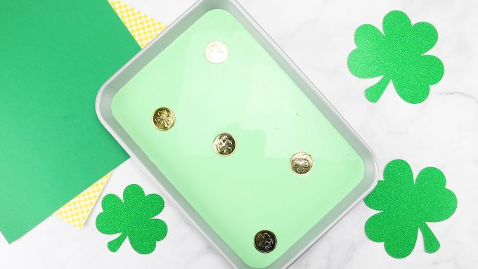 St Patricks Day oobleck tray with gold coins