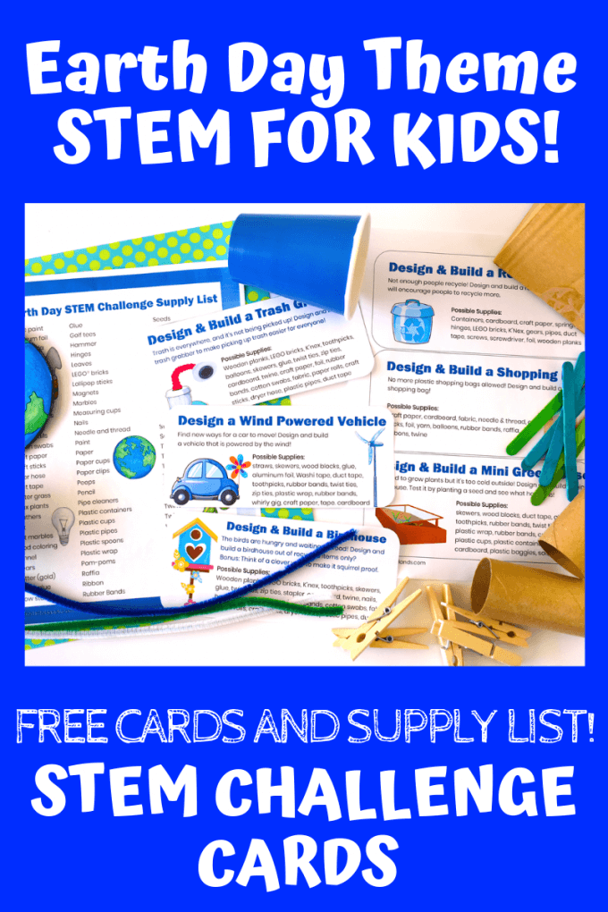 Earth Day STEM Challenges, cards, and supplies list for Kids. Easy Earth Day science experiments and STEM projects for every day!