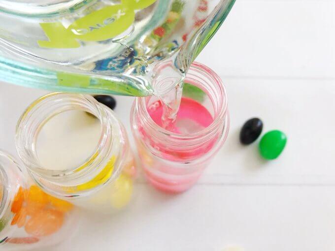 pour liquid in the jar