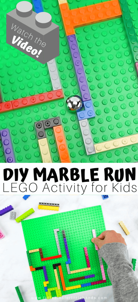 Build your own lego marble run for a fun and easy STEM activity.